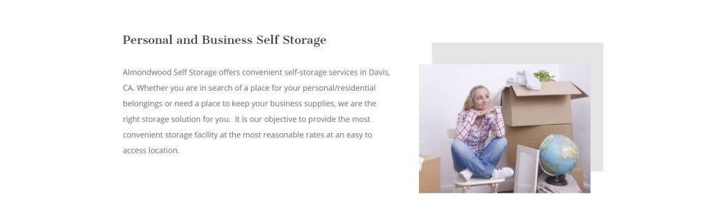 Almondwood Self Storage Website Design Elements