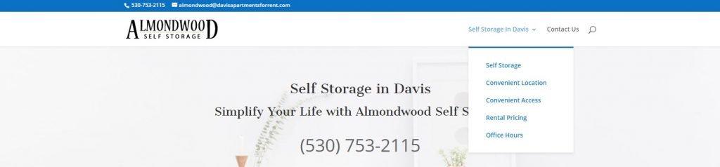Almondwood Self Storage Website Navigation