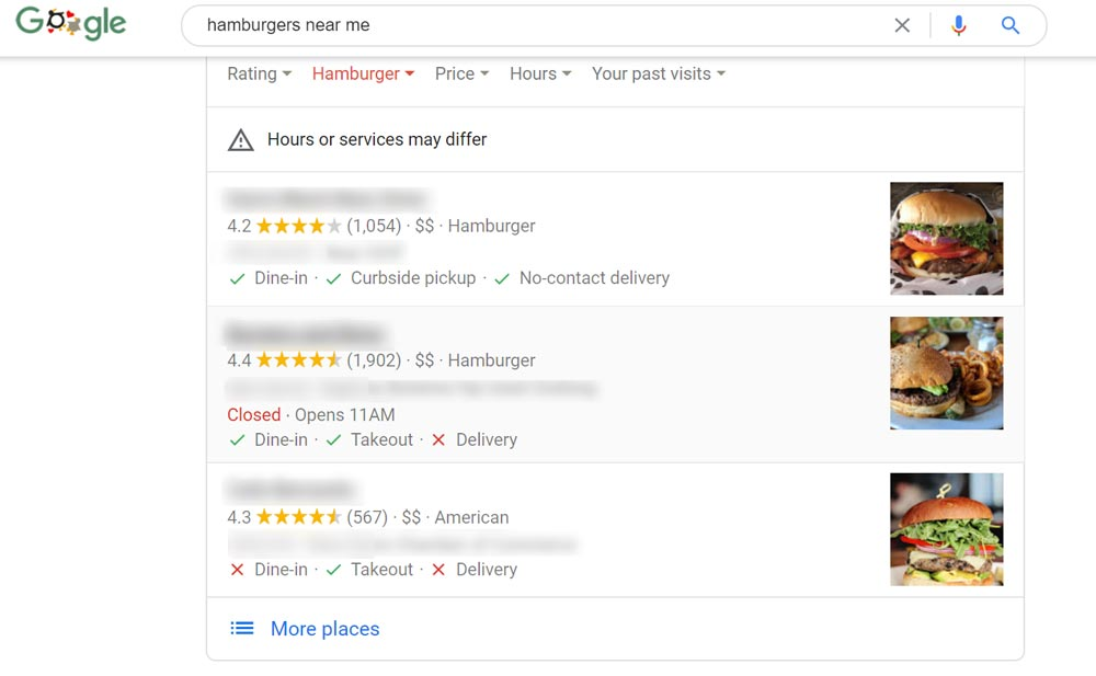Search Engine Results for Hamburgers Near Me