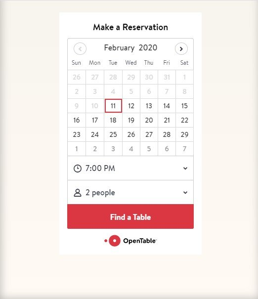 Open Table Reservation Screen on a Mobile Device