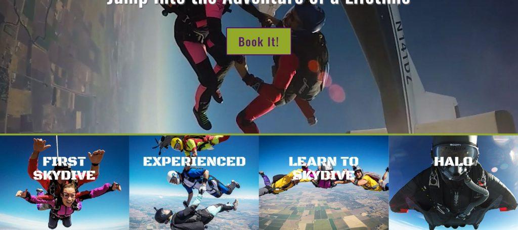 Skydance Skydiving Website Homepage Custom Navigation