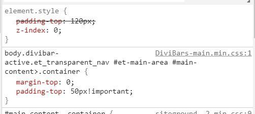 Element Inspector showing Divi CSS setting the padding