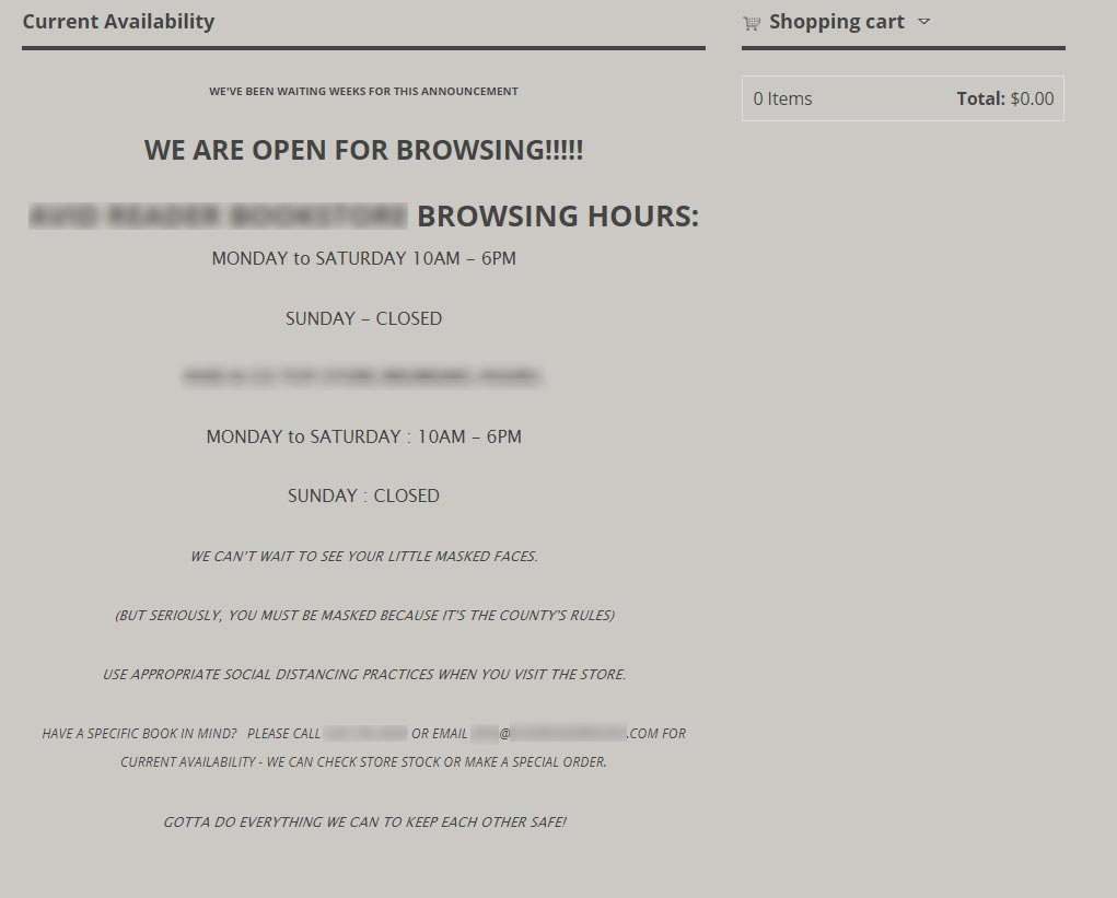 Website notice for Davis business re-opening for business